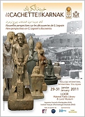 "Plakat des Internationalen Symposiums ""The Cachette of Karnak. New perspectives on Georges Legrain's discoveries"""